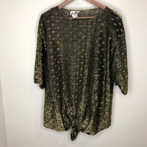 Tops - Vintage black & gold semi-sheer tie blouse